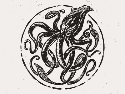 Kraken Logo typography sea illustration black and white vintage octopus kraken seal logo branding identity