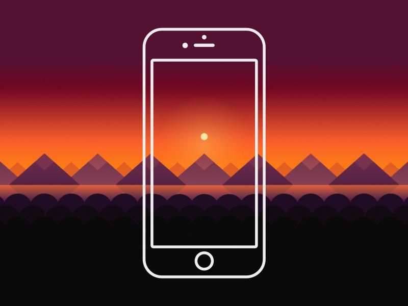 Sunset Wallpaper freebie free mountains geometric flat landscape sunset wallpaper iphone