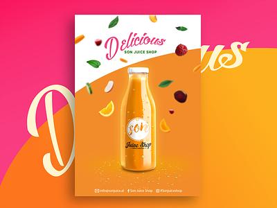 Juice Bar illustration color vector gadient logo ilustator orange fuits design poster