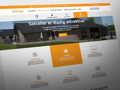 Nyfors design ui web site orange products ronnie faust flat simple minimalistic bar interface white basic button search corporate navigation clean font google titillium solarpanels slideshow pins news footer map onepage