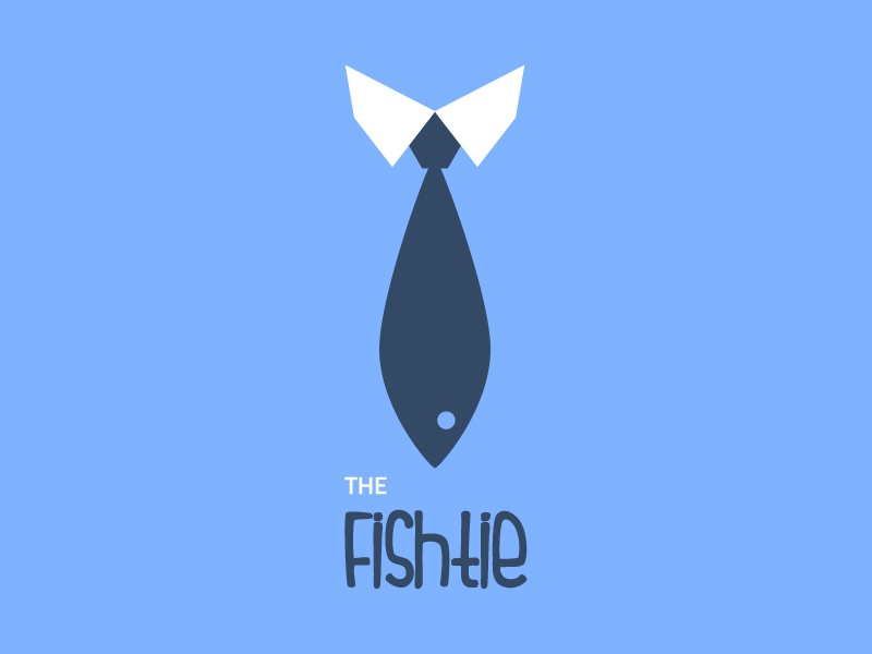 The Fishtie? tie fish shirt blue minimalistic logo flat name ronnie faust identity graphic design retro business