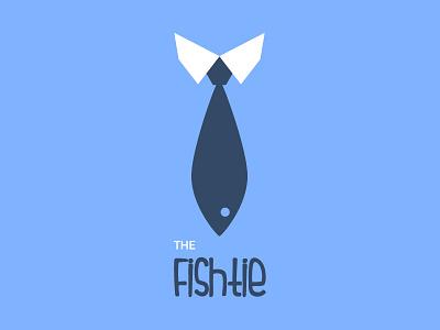 The Fishtie? tie fish shirt blue minimalistic logo flat name ronnie faust identity graphic design retro business