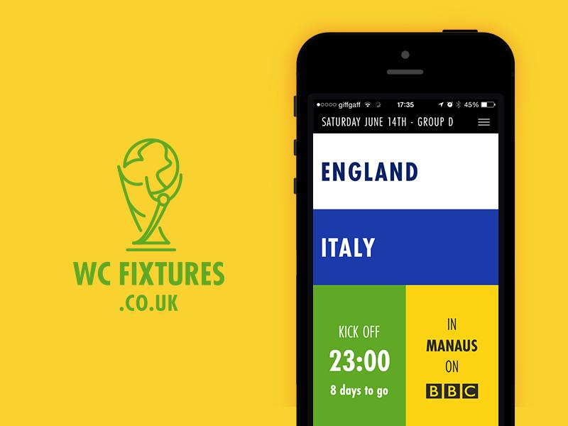WC Fixtures ui user interface app web app website football world cup type