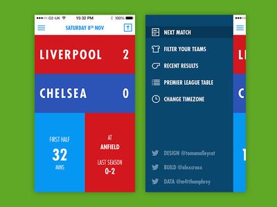 PL Fixtures Progress football website web app user interface type app