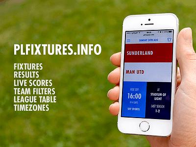 PL Fixtures Live football website web app user interface type app premier league