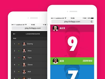 tivit - web app screens website ui ping pong table tennis app web app