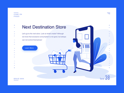 Shopping illustrations shopping cart character branding design graphical simplicity shopping bule illustration