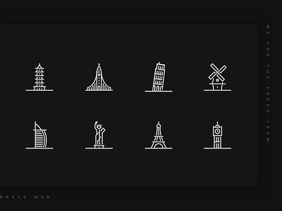 Architectural icons design city simple line architecture illustration