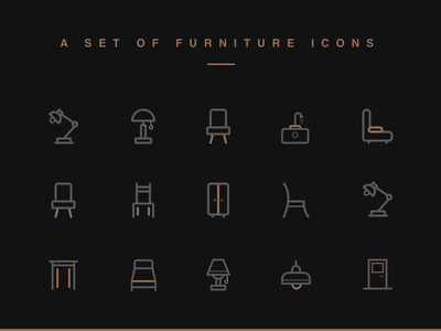 Furniture Icon design simplicity linear comfortable golden icon design furniture