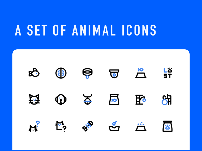 A set of animal icons blue simplicity linear animal icons illustration design ui