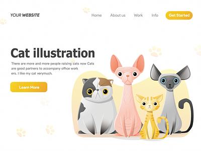 Cat Illustration yellow simple cat illustration illustration ui simplicity design