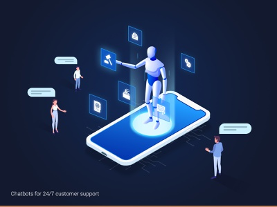 Chatbot - Customer Support sms marketing bots chat robot customer care reson8 sms support sms 247 support customer support chatbots bot chatbot gradient design illustration creative