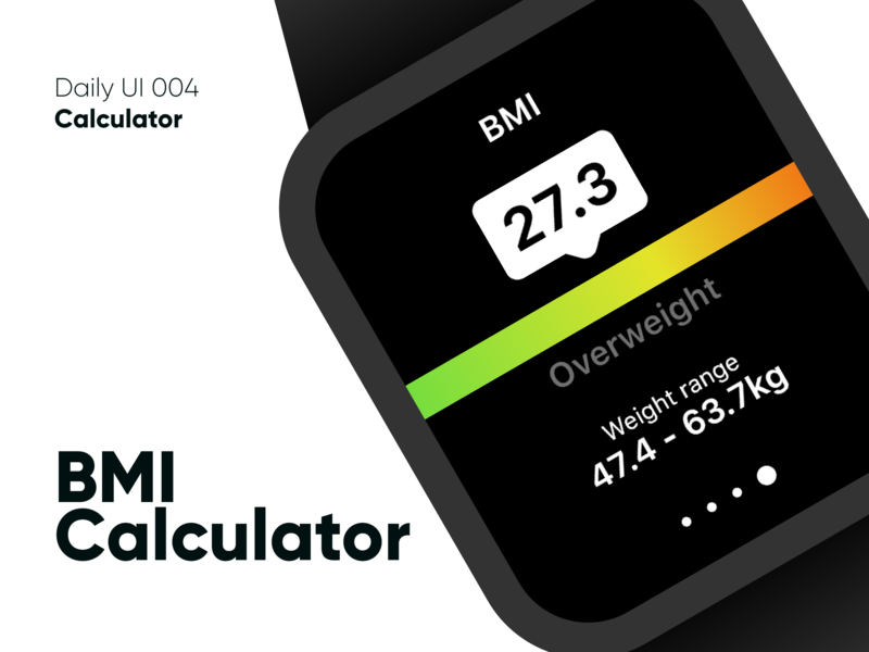 BMI Calculator - Daily UI 004 calculator ui calculator watch app watch daily 100 challenge bright colors ux graphic design adobe xd uidesign visual design design ui