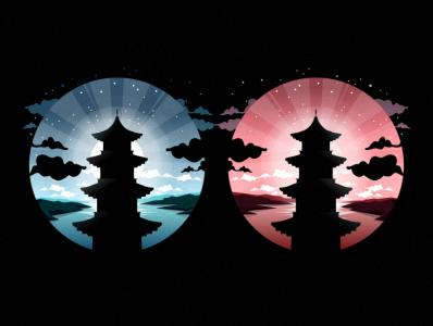 mandarin pagoda pencil bird illustration icon coffee film music vector sketch design logo