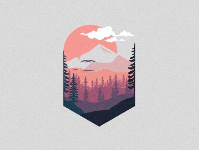 mount sunset bird illustration icon coffee film music vector sketch design logo
