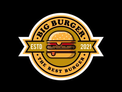BIG BURGER illustration icon coffee film music vector sketch design logo