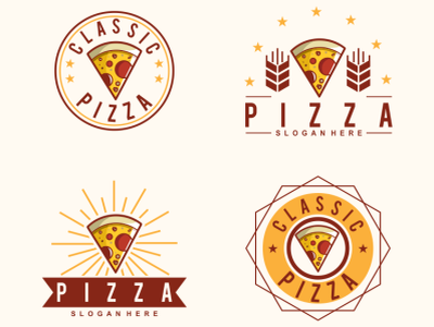 pizza vintage illustration icon vector sketch design logo