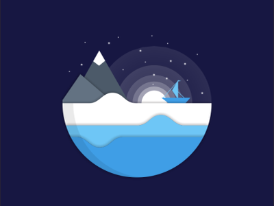 mount sea logo design bird illustration icon coffee film music vector sketch design logo