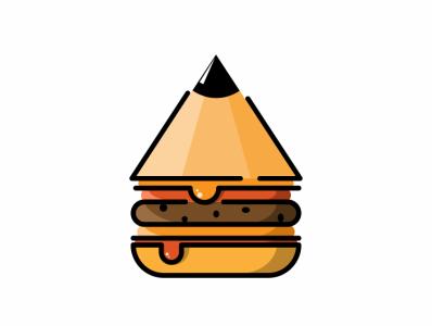 pencil burger logo pencil icon burger pensil music vector sketch design logo