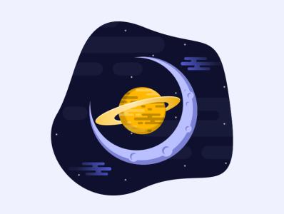 moon planet moon pencil illustration icon vector sketch design logo