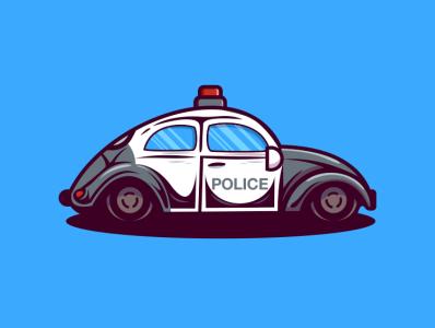 car police pencil bird illustration icon vector sketch design logo