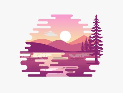 mount river illustration icon vector sketch design logo