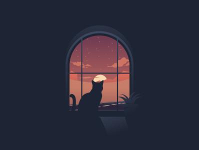 cat moon illustration cat illustration film music vector sketch design logo