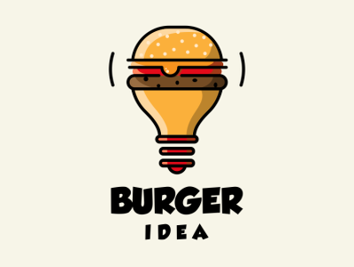 BURGER IDEA illustration icon vector sketch design logo