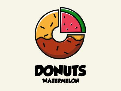 DONUTS WATERMELON bird illustration icon coffee film music vector sketch design logo