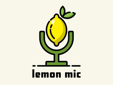 lemon mic illustration icon coffee film music vector sketch design logo