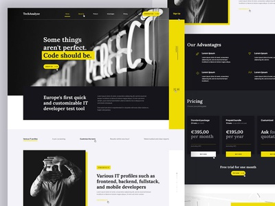 TechAnalyze development yellow black adobe photoshop website ui web ux design