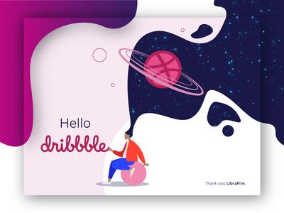 Hello Dribbble! first shot ux ui website space hello dribbble web design vector illustration