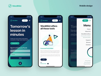 WordMint Mobile Design
