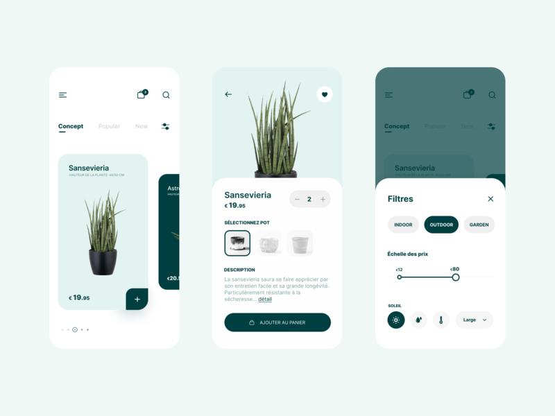 Plant Shop ux ui swipe shop plant green flat cards app