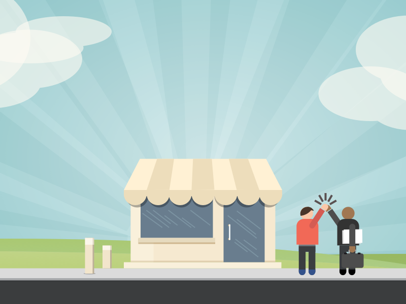 Illustration for a two-sided marketplace shop store illustration high five