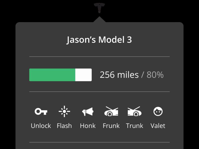 Tesla menu bar app car menu bar tesla