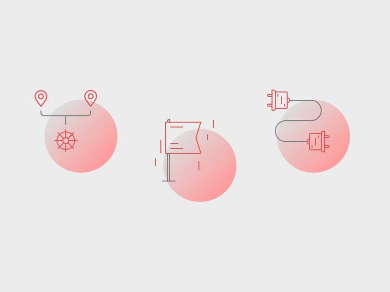 Web illustrations wheel steer pin flag connect gradient icons illustrations