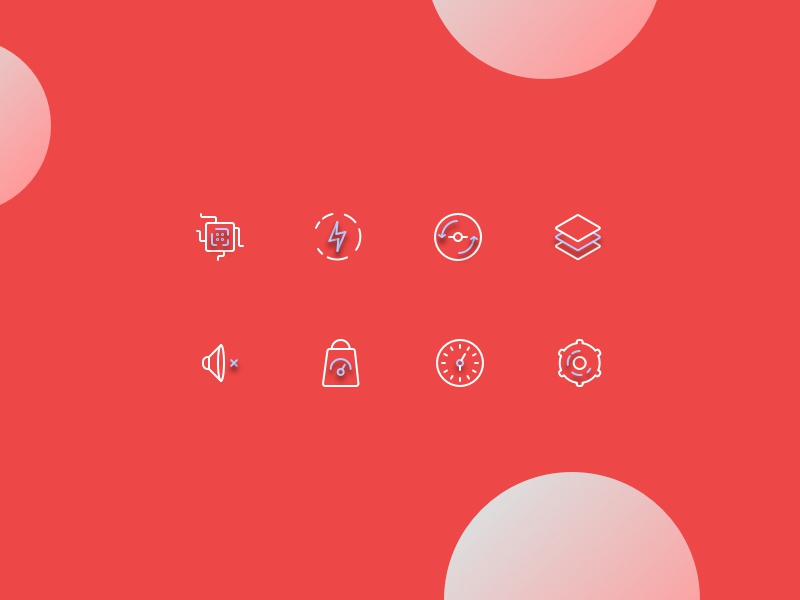 Product icons settings time weight sound levels angle energy brain icons