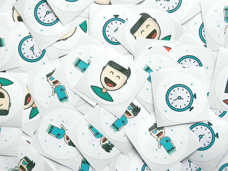 Illustration stickers from OKIA print watch stopper female men illustration stickers