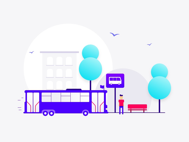 Turnit BiBo illustration bench birds trees house people stop bus
