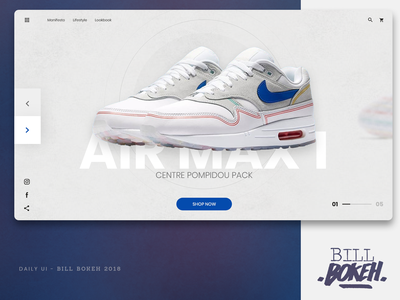 Air Max 1 UI interface air max 1 sneakers showcase slider home page design home page landing airmax nike ux challenge web design ui webdesign ux ux  ui uidesign interface designer dayliui