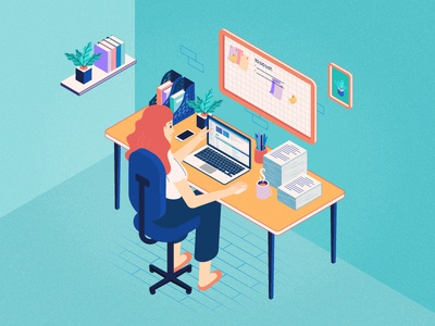 An isometric working space