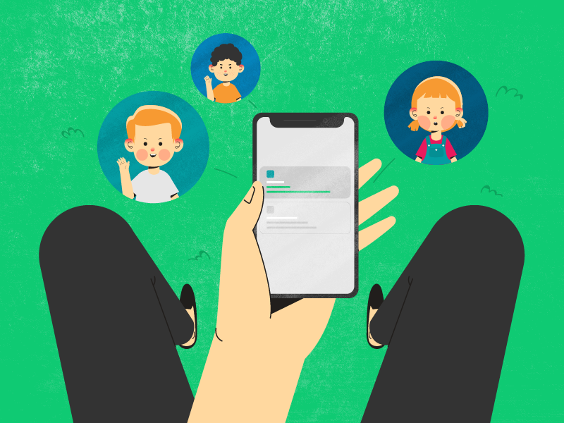 Social Network apps phone character design character kid kids social network