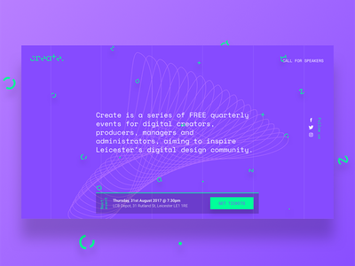 Create Leicester - Events Landing page bold grid abstract branding ui design 2018