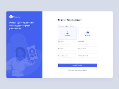 Samson dribble illustration uidesign uxdesign product register form register page