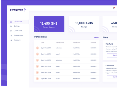 Pennysmart finance web savings saving ux uxdesign design product uidesign dashboard