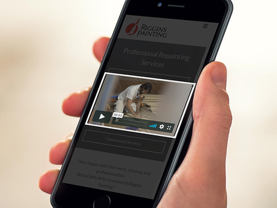 Mobile Website, Video Player - Riggins Painting