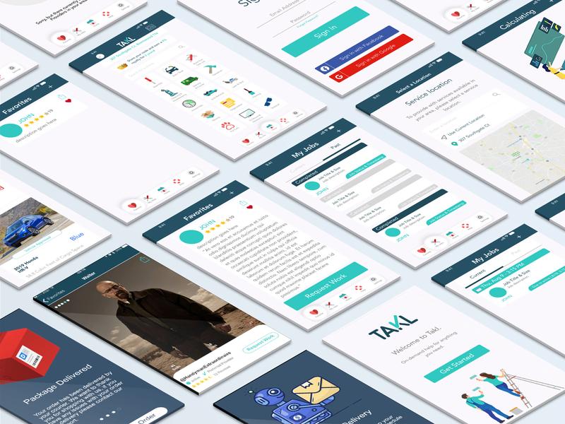 App Flow Layout - Takl app mobile ux ui design