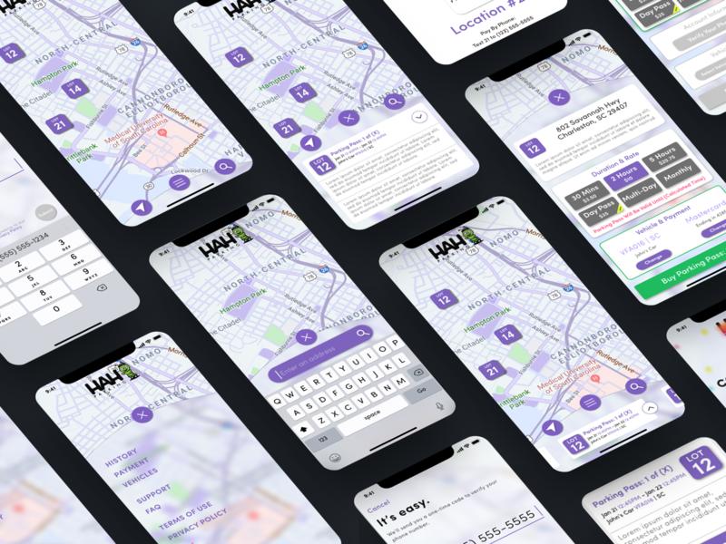 HAH Parking navigation parking app ui mobile ux