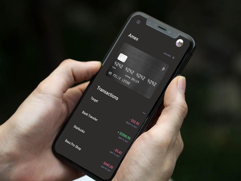 Credit Card App finance credit card banking mockup app ui mobile design ux